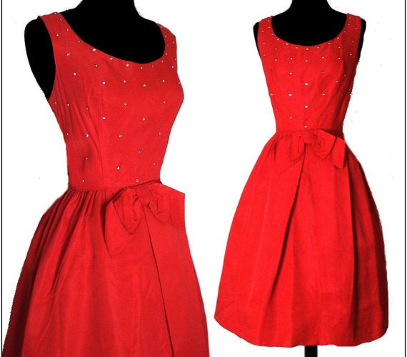 1950s Party Dress Red Rhinestone Femme Fatale Couture Garden Party Mad Man Prom Cocktail Rockabilly Ballerina Cupcake on Etsy, $155.00
