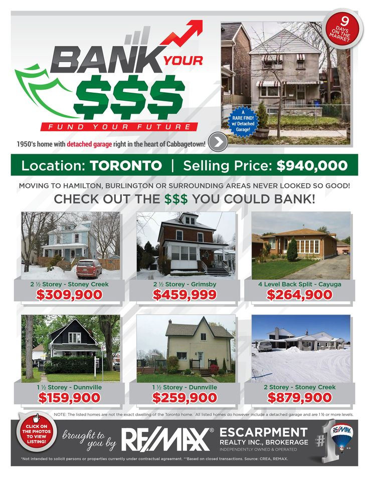 Bank Your $$$: FUND YOUR FUTURE   Do you enjoy saving money? Perhaps leaving the GTA where pricing is outrageous and moving to the Hamilton/Burlington or a Surrounding Area where pricing is more reasonable is just the opportunity for you and your family!   Check out some of our current listings to seethe comparison and the $$$ you could BANK!!!      If these homes are NOT in your price range, then check out www.whatchagetfor.com  to find homes within your budget.