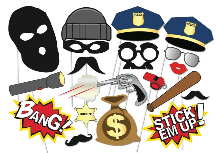 Cops and robbers Party Photo booth Props Set  20 by TheQuirkyQuail, $8.00