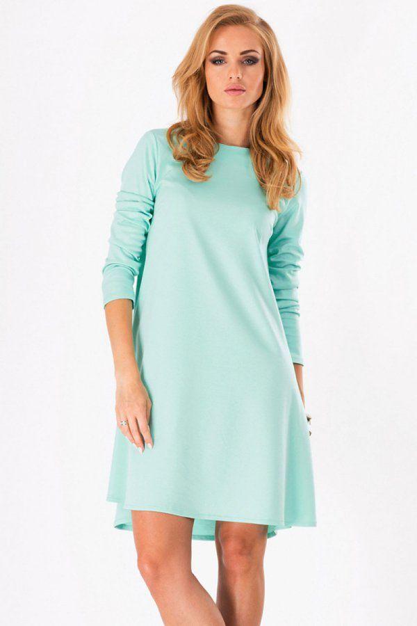 Miętowa trapezowa sukienka z wydłużonym tyłem
