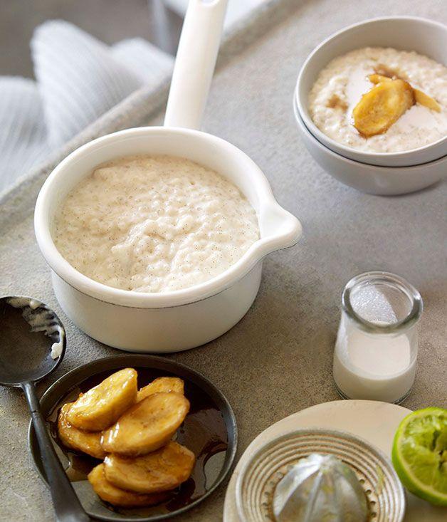 Tapioca porridge with brown sugar bananas