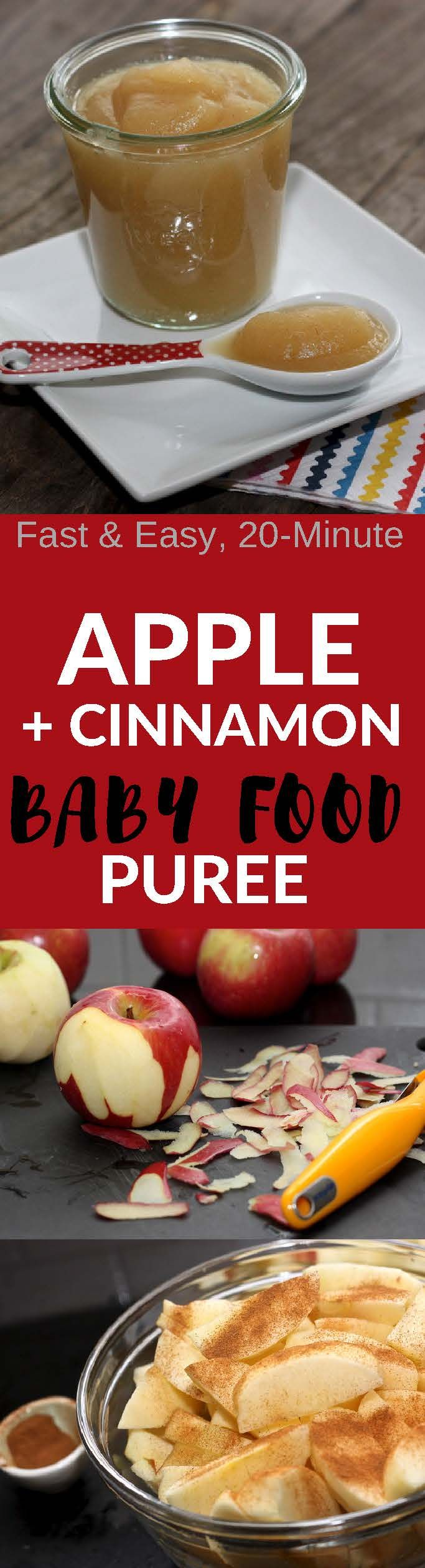 This easy and delicious Apple + Cinnamon Baby Food Puree will make your baby want to eat all day!