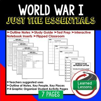 World War I Outline Notes JUST THE ESSENTIALS Unit Review, Study Guide, Test Prep American History Outline Notes, American History Test Prep, American History Test Review, American History Study Guide, American History Summer School, American History Unit Reviews, American History Interactive Notebook Inserts