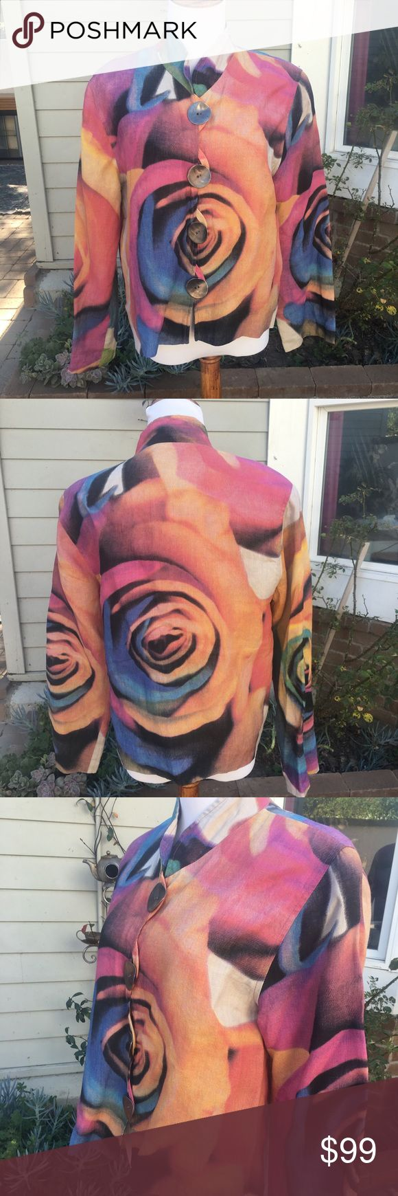 """Caroline Rose big Button Shirt Sold at Neiman Marcus. Gorgeous floral jacket (looks like it's hand painted!) from high end designer Caroline Rose. Fun big buttons. Beautiful colors. Sleeves measure about 23.5"""". No flaws noted. caroline rose Jackets & Coats"""