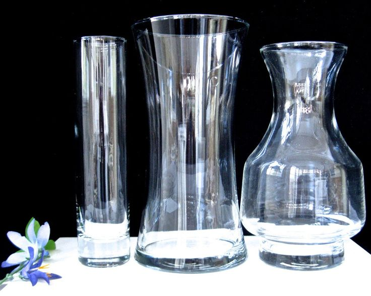 Lot MidCentury Vases x3 • Clear Glass Weighted Base • INSTANT COLLECTION Vintage by KatesAtticBargains on Etsy