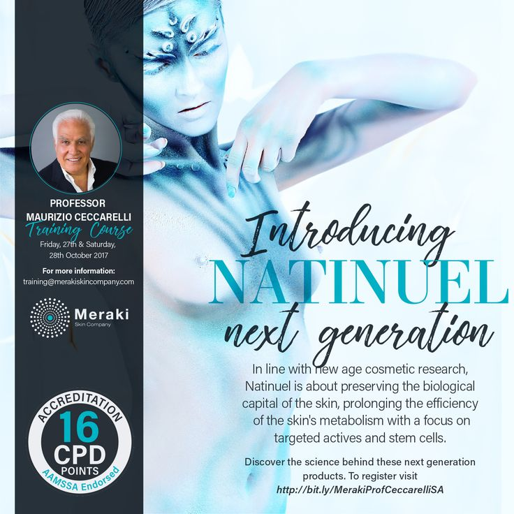 Introducing Natinuel next generationIn line with new age cosmetic research, Natinuel is about preserving the biological capital of the skin, prolonging the efficiency of the skin's metabolism with a focus on targeted actives and stem cells. Discover the science behind these next generation products. To register visit http://us16.campaign-archive2.com?e=[UNIQID]&u=4a15295b3d839d11868cb4f48&id=fbab0131b5 #natinuel #profceccarelli #training #launch #nextgeneration #skin #aesthetics #beauty…
