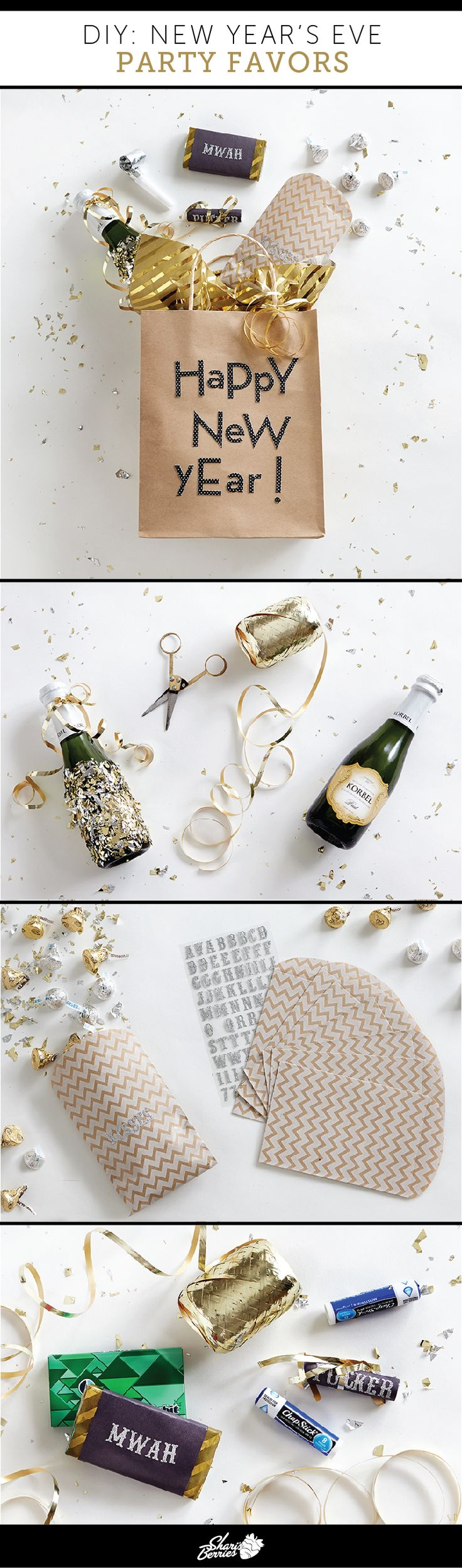 5 ... 4 ... 3 ... 2 ... 1! Let the New Year's party planning begin. After you've sent out the invitations and scored a sparkly frock it's time to make the party favors. Of course, you're making them yourself, because you're crafty and creative like that. Our easy DIY has everything you need from the champagne toast to the midnight kiss.