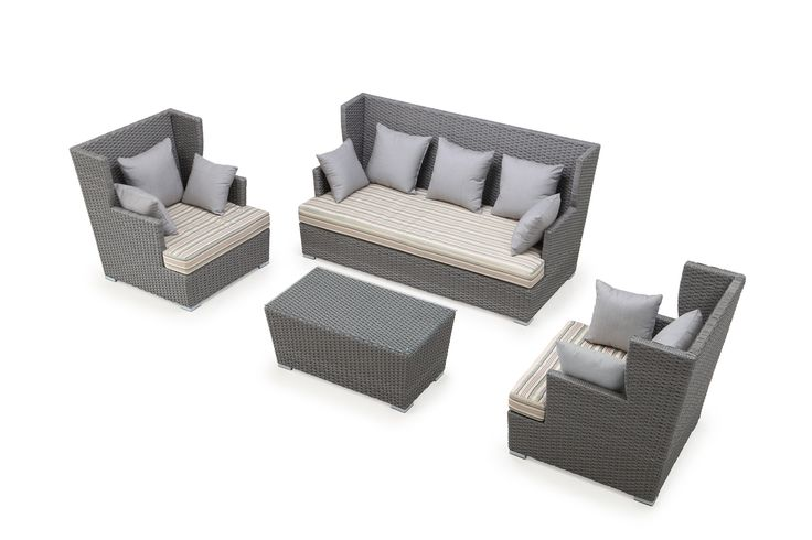 Ceets Furniture Modern Ascent 4-Piece Outdoor Conversation Set in Grey+Strated & Grey