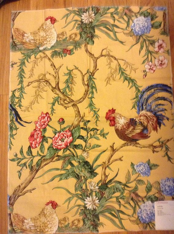 French Country Rooster Fabric Hand Printed Pattern