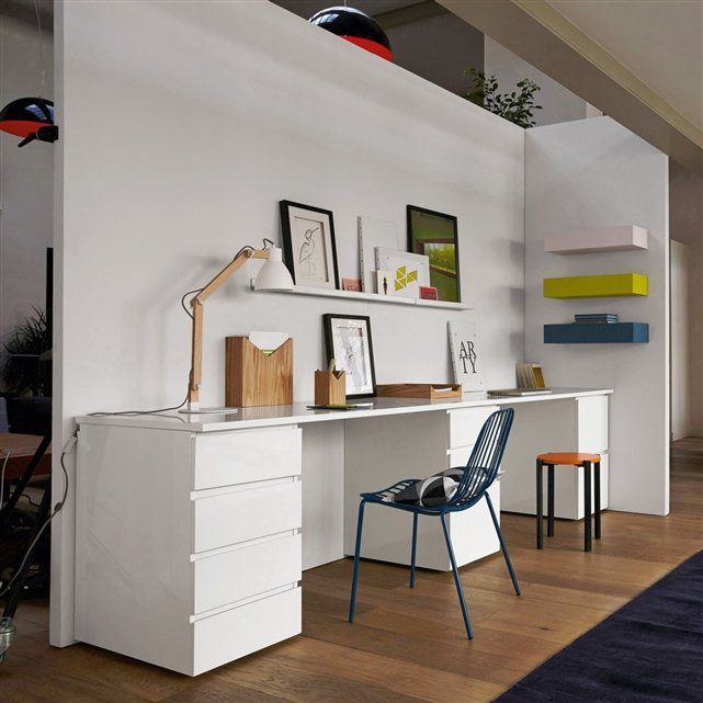 les 25 meilleures id es de la cat gorie bureau blanc sur pinterest le stockage de bureau. Black Bedroom Furniture Sets. Home Design Ideas