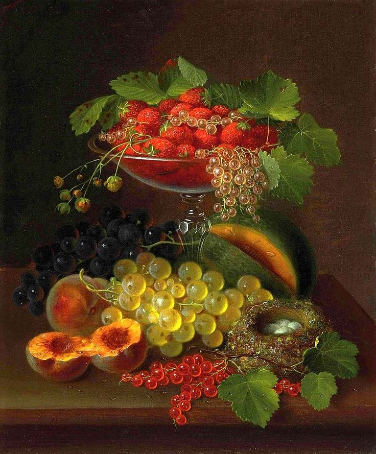 Вкусная классика. George E. Forster (1817-1896) -Still Life with Fruit.
