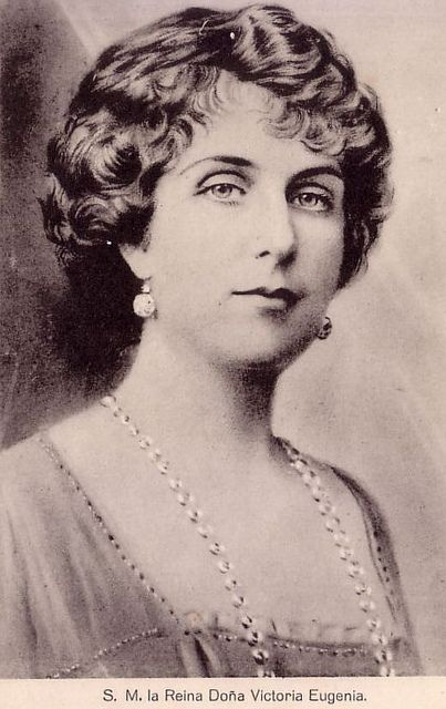 Queen Victoria Eugenie of Spain. Victoria Eugenia de Battenberg, granddaughter of Queen Victoria, wife of King Alfonso XIII and Queen consort of Spain from 1906 to 1931.