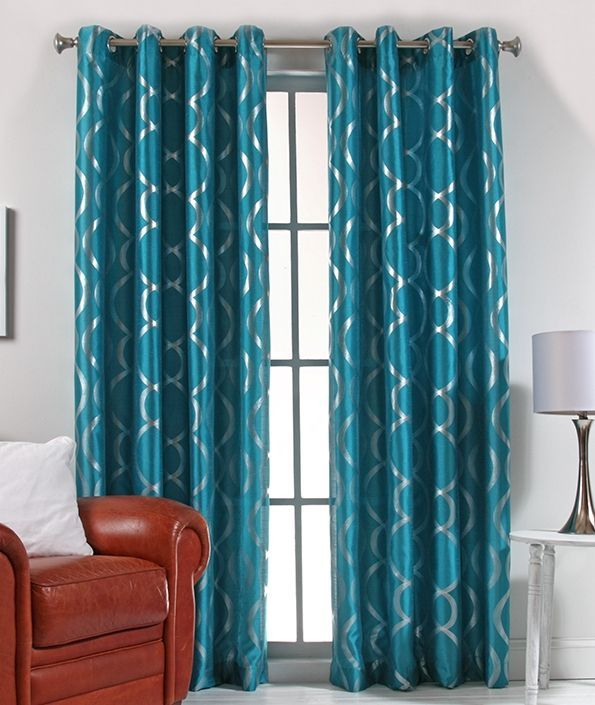 teal colored curtains - Google Search | Ranch house! | Pinterest
