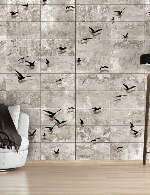Carta da Parati Uccelli su Pietra Carta da Parati Fotomurale con Sfondi e Disegni Effetto Pietra