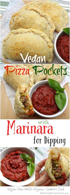 Addicting vegan pizza pockets / calzones! They have been a hit for the family and are great for freezing... The homemade marinara recipe doubles as a dip.