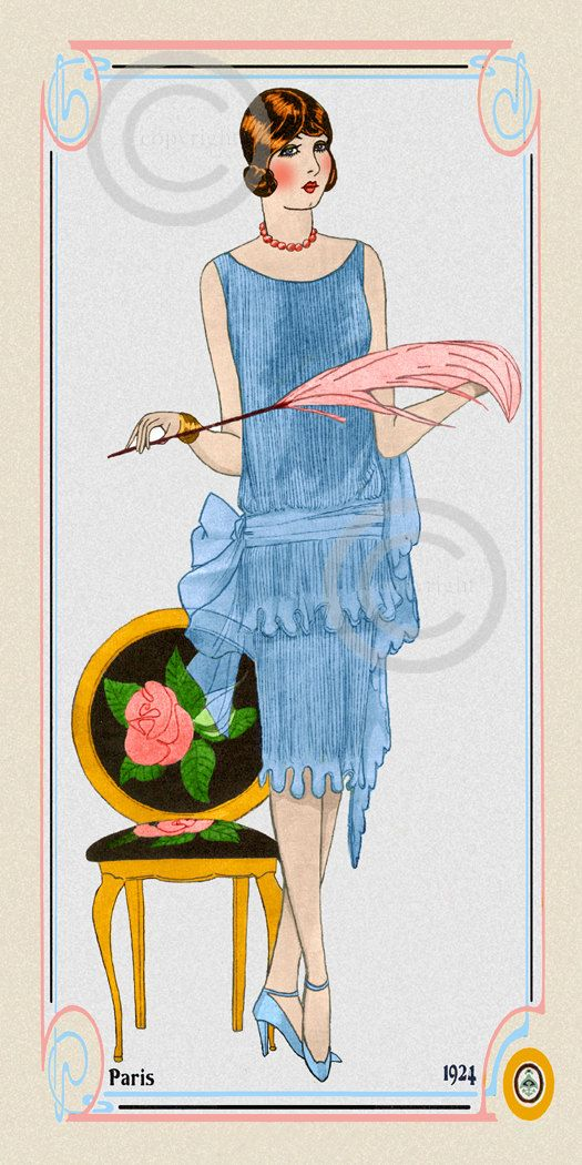 This is a art deco Boudoir Fashion Print. From 1924 and showing a flapper girl dressed in a beautiful blue chiffon dress. She is posed and