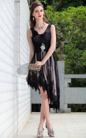 Robes noires de soirée col V Robe De Gala courtes