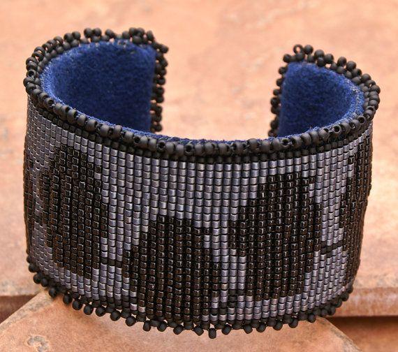 CUFF Bracelet Macabre Bracelet Loom Bracelet Raven Bracelet Gift for Her Valentine's Gift Bracelet Mother Day Gift Hand Made by tealeves. Explore more products on http://tealeves.etsy.com