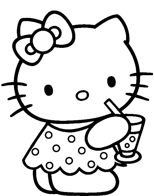 hk coloring and invites hello kitty was drinking delicious coloring page