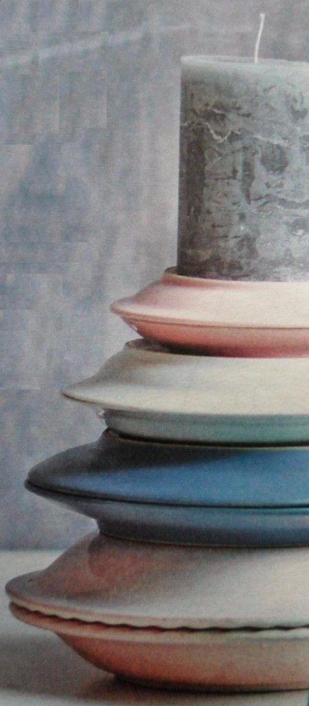 Oude borden stapelen en lijmen tot kandelaar - Hobby