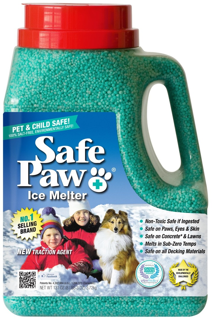 Safe Paw Ice Melt - Safe for pets and won't damage concrete like other ice melt products. Works at lower temperatures than competing brands.