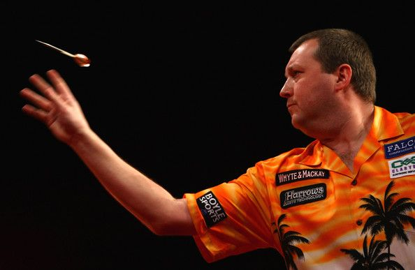 Wayne Mardle competes during the Whyte & Mackay Premier League Darts at NIA…