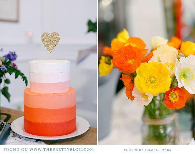 Ombre wedding cake: Orange Color, Cakes Ideas, Pretty Cakes, Simple Cakes, Flowers 10 27 12, Bright Cakes, Cakes Flowers, Graduation Parties, Cakes 10 27 12