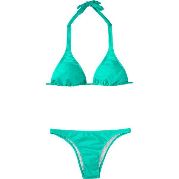 Rio De Sol Sea Green Triangle Scarf Bikini - Mare Cortinao Basic ($46) ❤ liked on Polyvore featuring swimwear, bikinis, aquamarine, padded triangle bikini, halter bikini, triangle bikini top, low rise bikini and halter top