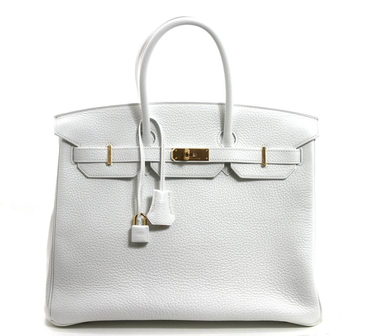 hermes white clemence leather 35 cm birkin bag with gold hardware