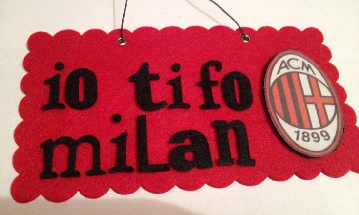 "Targhetta in feltro squadra calcio ""Milan"""