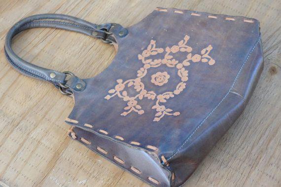 Vintage 70er-80er Jahre Hand tooled Leder Handtasche Boho Hippie Hipster Retro