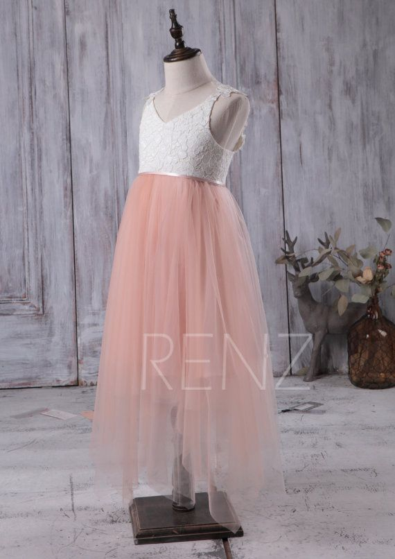 2016 Junior Bridesmaid Dress Long Off White and Peach by RenzRags