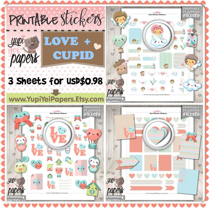 50%OFF - Love Stickers, Planner Stickers, Cupid Stickers, Printable Stickers, Planner Accessories, Digital Stickers, Heart Stickers