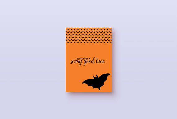 Invite your friends to a scary halloween party! This funny card is perfect for giving your guests a nice invite. Great for both kids parties, or all ages. Buy it once and print it out for all of your guests! --- You will receive 2 printable pdf files. 1 for a 5x7 card (shown in picture 2) that includes cut and fold lines to easily get the perfect card. And 1 single 5x7 card. The bat design continues to the back and its blank on the inside. Want to make your own decorations to...