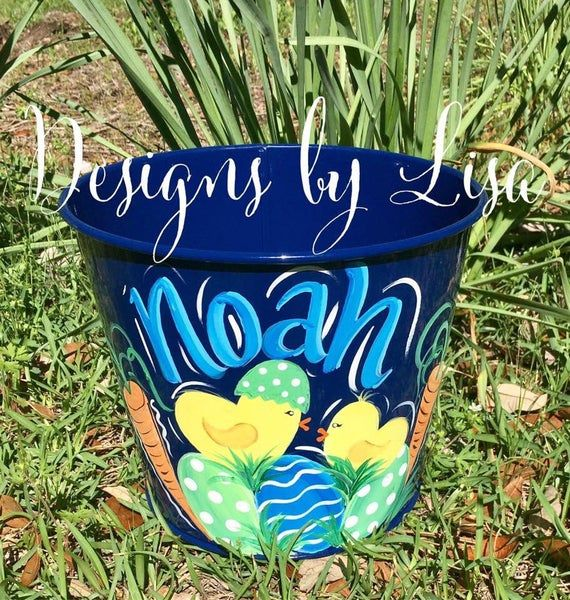 Easter Pail With Chicks In 2020 Easter Buckets Easter Easter Crafts