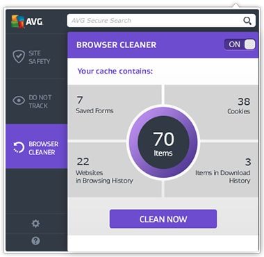 De gebruikersinterface van Web TuneUp met de focus op het scherm Browser Cleaner