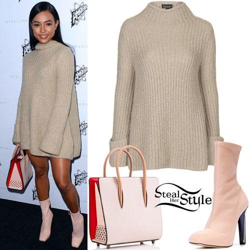 Karrueche arrived at the Stella McCartney Autumn 2016 Presentation wearing a Topshop Jumbo Trapeze Funnel Jumper (Sold Out), the Christian Louboutin Paloma Small Tote Bag ($1,900.00) and her Alexander McQueen Perspex Heel Leather Ankle-Boots ($796.00). You can find similar boots for less at Ego ($49.88).