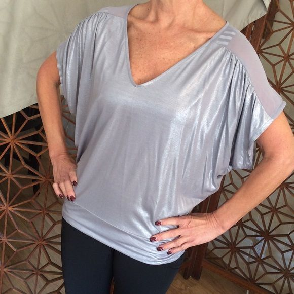 Shiny Silver Batwing Top by Express Stretchy fabric Express Tops Tunics