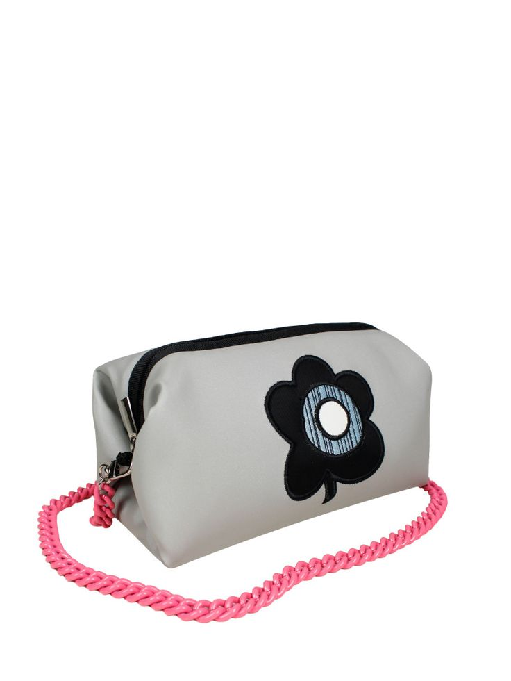 GOSHICO, ss2015, Little cross body bag, light grey + pop art flower. To download high or low resolution photos view Mondrianista.com (editorial use only).