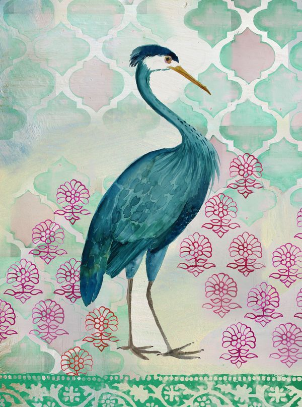 A blue heron on an ethnic background and modern color palette.
