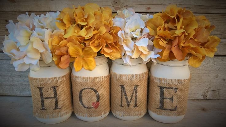 Country Home Decor, Mason Jars With Burlap, Painted Mason Jars, Mason Jars With Flowers,Southern Home Decor, Rustic Decor, Living Room Decor by GodGirlsandGlitter on Etsy https://www.etsy.com/listing/257999200/country-home-decor-mason-jars-with