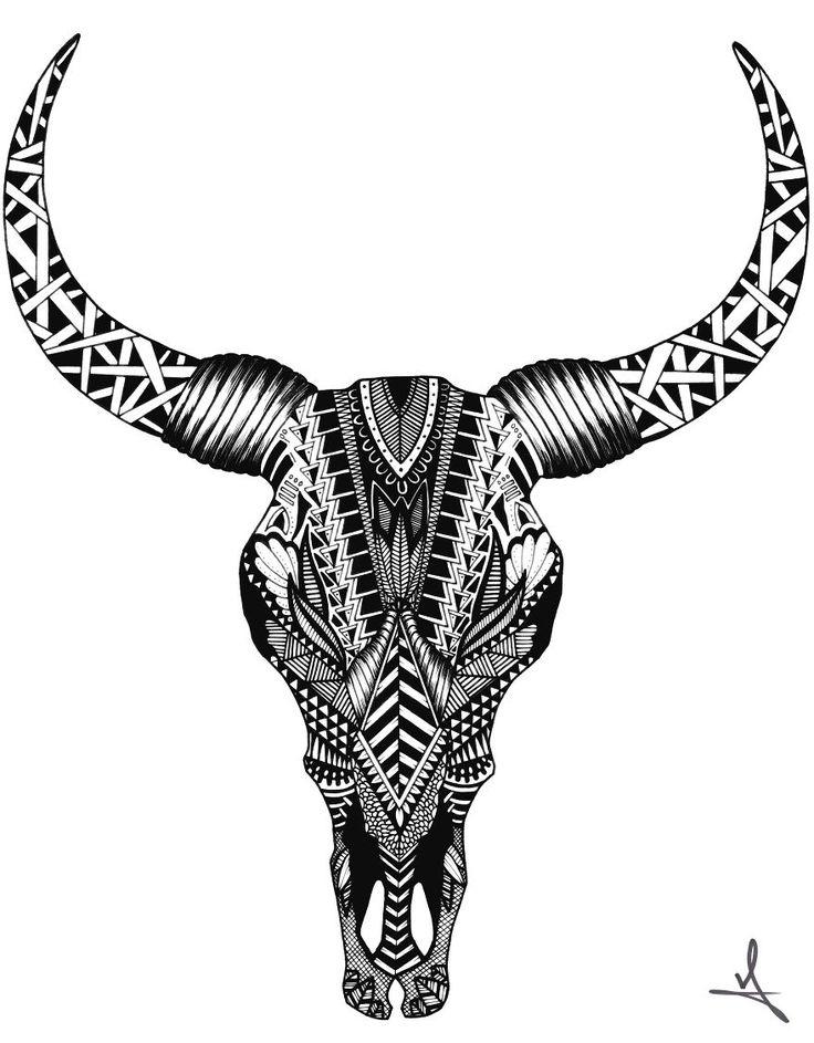 Ornate Bull Skull Drawing by Ash Art #skull # bull #zentangle #mandala #art #animal #tattoo
