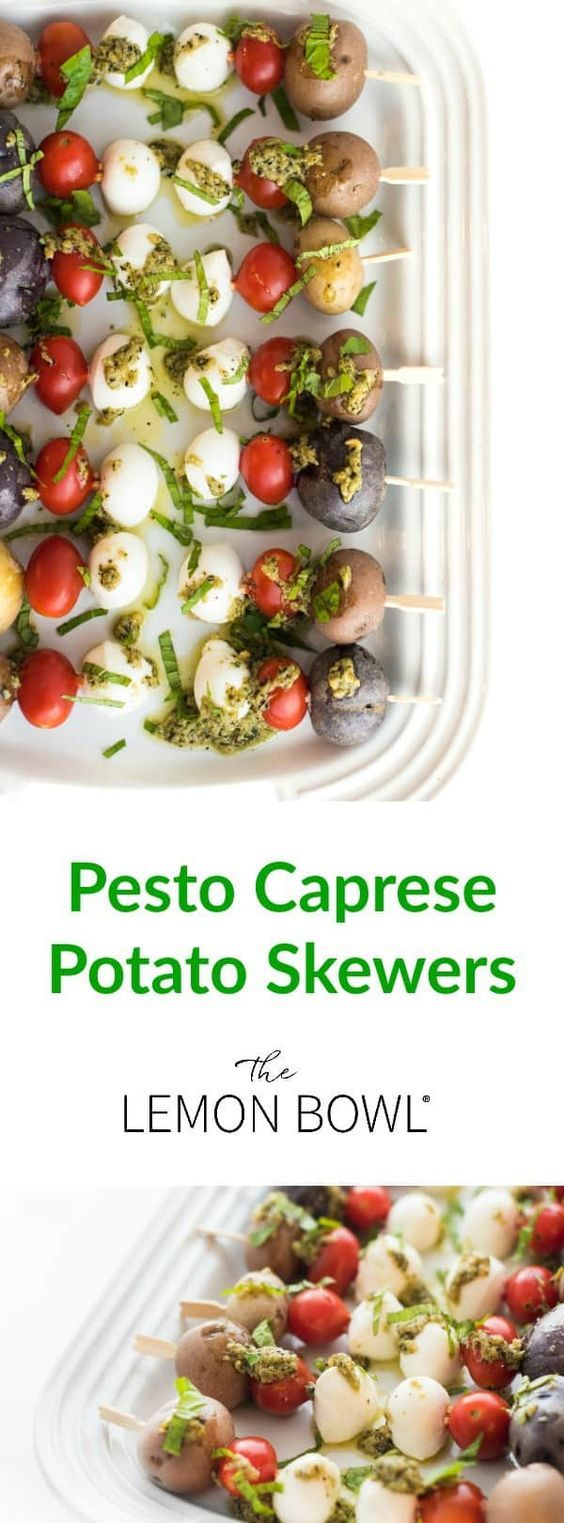 These crowd-pleasing Pesto Potato Caprese Skewers are the ultimate fast and easy appetizer recipe!