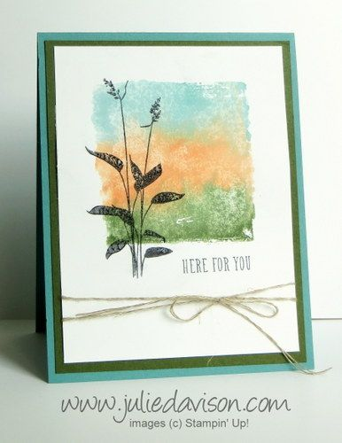 Stampin' Up! World of Dreams card with new In Colors. Create watercolor background by using markers on Clear Block and spritzing with water. #stampinup www.juliedavison.com