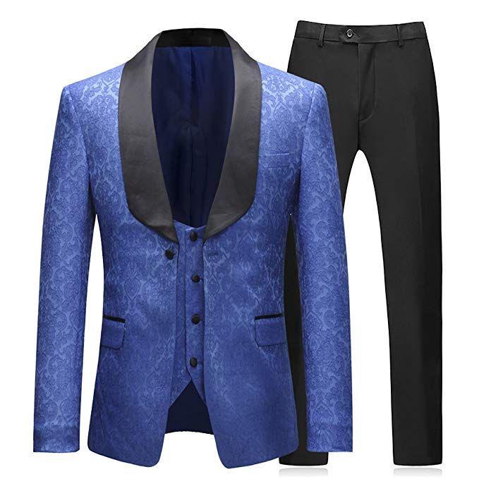 Boyland Mens Formal Suit Floral Slim Fit 3 Pieces Shawl Lapel Prom Dinner Formalwear Tux Suit Jacket Vest Pants Navy Blue