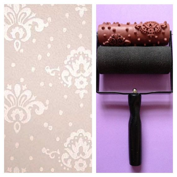 Patterned Paint Roller in Petite Damask design and Applicator by Not Wallpaper Patterned Paint Rollers via Etsy