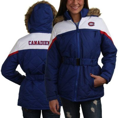 Montreal Canadiens Ladies Polyfill Full Zip Jacket with Fur-Lined Hood - Royal Blue