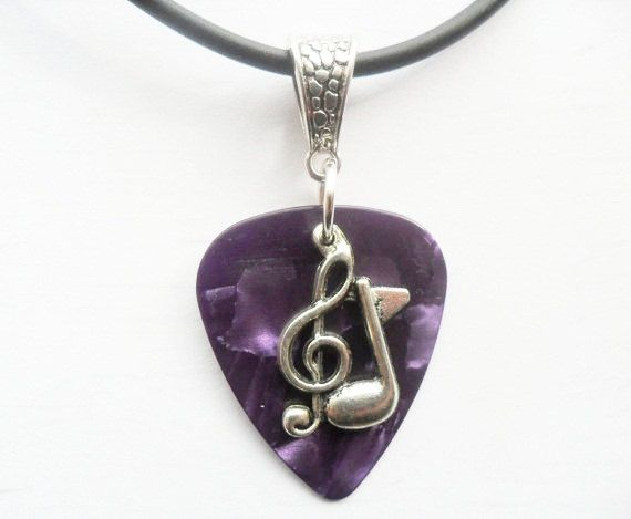 """Purple Guitar pick necklace with treble clef music note charm that is adjustable from 18"""" to 20"""""""