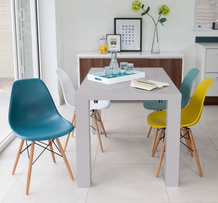 Fern Grey Gloss Extending and Eames Style Dining Set from Danetti.