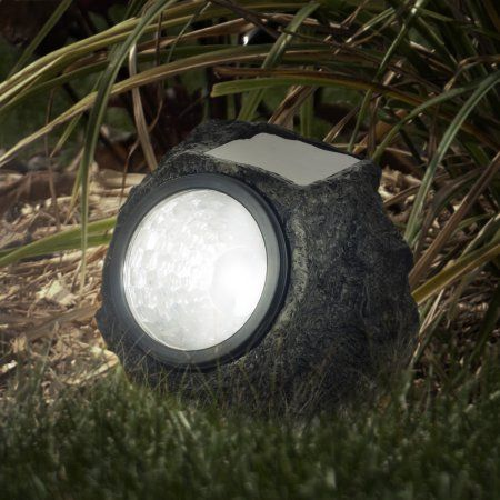 led solar rock landscaping lights set of 4 by pure garden brown